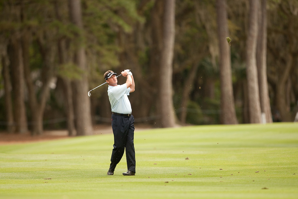 HILTON HEAD, SC - APRIL 18:  Todd Hamilton hits his shot during the third round of the 2009 Verizon Heritage in Hilton Head, South Carolina at Harbour Town Golf Links on Saturday, April 18, 2009. (Photograph by Darren Carroll) *** Local Caption *** Todd Hamilton