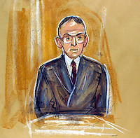 ©PRISCILLA COLEMAN (ITN ARTIST).PIC SHOWS: ARTIST IMPRESSION OF BARRY CARMEL ACCOUNTANT FOR LORD ARCHER AT THE OLD BAILEY TODAY 28.06.01 WHERE HE GAVE EVIDENCE IN THE  LIBEL CASE.PIC BY STEVE MAISEY