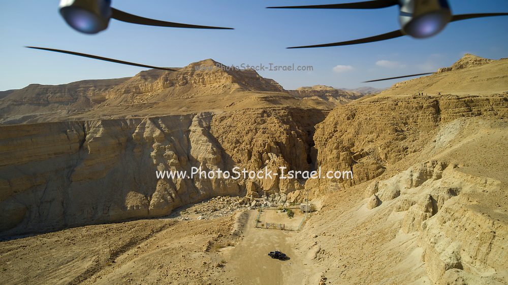 Aerial Photography with a drone. The drone's propellors can be seen. Photographed on the shore of the Dead Sea, Israel.