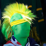 An Australian fan during the South Africa V Australia Quarter Final match at the IRB Rugby World Cup tournament. Wellington Regional Stadium, Wellington, New Zealand, 9th October 2011. Photo Tim Clayton...