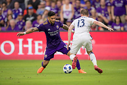 May 6, 2018 - Orlando, FL, U.S. - ORLANDO, FL - MAY 06: Orlando City forward Dom Dwyer (14) controls the ball during the soccer match between the Orlando City Lions and Real Salt Lake on May 6, 2018 at Orlando City Stadium in Orlando FL. Photo by Joe Petro/Icon Sportswire) (Credit Image: © Joe Petro/Icon SMI via ZUMA Press)