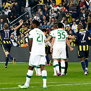Fenerbahce's Dirk Kuijt (L) celebrate his goal during their Turkish superleague soccer match Fenerbahce between Bursaspor at the Sukru Saracaoglu stadium in Istanbul Turkey on Sunday 10 March 2013. Photo by Aykut AKICI/TURKPIX