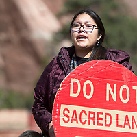 """""""There's so much awful in the world, we need to stop and celebrate that we're still here,"""" says Krystal Curley during a celebration of Indigenous Peoples Day Monday, Oct. 14 in Window Rock."""