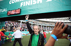 10062018 (Durban) Bruce Fordyce cut the 11th hour at the finnish line at the Mosses Mabhida stadium venue during the Comrades Marathon on Sunday as Bong'musa Mthembu and Ann Ashworth ensured that the coveted titles remained on these shores.<br /> Picture: Motshwari Mofokeng/African News Agency/ANA