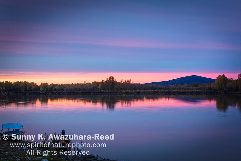 Pastel color sunset at Kuskokwim River, McGrath, Interior Alaska, Autumn.
