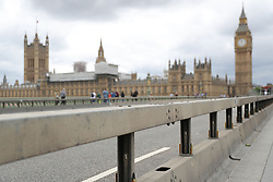 Barriers on Westminster Bridge in London which have been placed there overnight following Saturday's terrorist attack.