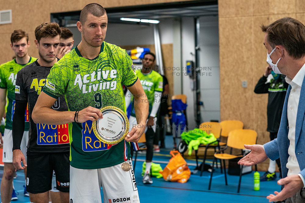 The Super Cup scale for Adam White #9 of Orion after the supercup final between Amysoft Lycurgus - Active Living Orion on October 04, 2020 in Van der Knaaphal, Ede