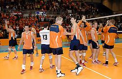 01-06-2006 VOLLEYBAL: EK KWALIFICATIE: NEDERLAND - ZWEDEN: ROTTERDAM<br /> Nederland wint het eerste duel van de EK kwalificatie reeks met 3-0 / Vreugde bij Nederland<br /> ©2006-WWW.FOTOHOOGENDOORN.NL