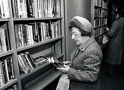Woman in library, Nottingham, UK 1989