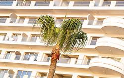 THEMENBILD - Palmen vor Art Deco Architektur der Hotels an einem heissen Sommertag, aufgenommen am 17. August 2018 in Larnaka, Zypern // Palm trees in front of Art Deco architecture of the hotels on a hot summer Day, Larnaca, Cyprus on 2018/08/17. EXPA Pictures © 2018, PhotoCredit: EXPA/ JFK