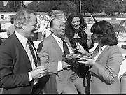 """Galway Oyster Festival..1982.09.09.1982.09.09.1982.9th September 1982..Group picture taken at .The Festival was held on the banks of the Shannon at Portumna Co.,Galway..It was held in the picturesque new marina. The event was sponsored by Guinness. Emerald Star line were also represented..Among those enjoying the oysters were, Mr Feargal O'Diomsaigh, Bertrach Teoranta Mr.R.B. Howick,Trade Director,Guinness Group Sales, the Oyster """"Pearl"""" Ms. Marion Fitzpatrick andMs. Anne Mulqueen, Guinness group Sales, Galway."""