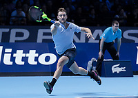Tennis - 2017 Nitto ATP Finals at The O2 - Day One<br /> <br /> Group Boris Becker Singles: Roger Federer (Switzerland) vs. Jack Sock (USA)<br /> <br /> Jack Sock (United States) stretches to reach and return the shot at the O2 Arena<br /> <br /> COLORSPORT/DANIEL BEARHAM