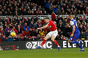 Middlesbrough forward Jordan Hugill (11) shoots over the bar during the EFL Sky Bet Championship match between Middlesbrough and Ipswich Town at the Riverside Stadium, Middlesbrough, England on 29 December 2018.