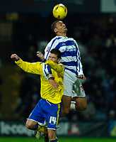 Photo: Daniel Hambury.<br />Queens Park Rangers v Cardiff City. Coca Cola Championship. 28/12/2005.<br />Cardiff's Willie Boland (L) and QPR's Marc Nygaard.