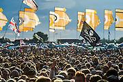 Manic Street Preachers perform on the other stage.The 2014 Glastonbury Festival, Worthy Farm, Glastonbury. 28 June 2013.  Guy Bell, 07771 786236, guy@gbphotos.com
