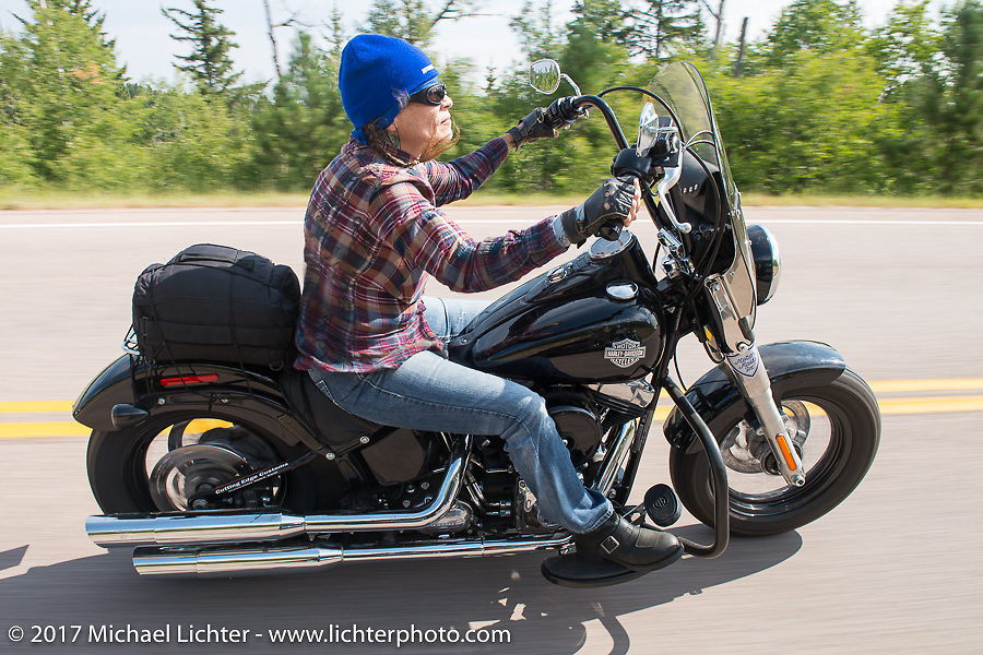 Pat Thurston on the Aidan's Ride to raise money for the Aiden Jack Seeger nonprofit foundation to help raise awareness and find a cure for ALD (Adrenoleukodystrophy) during the annual Sturgis Black Hills Motorcycle Rally. Vanocker Canyon between Sturgis and Nemo, SD, USA. Tuesday August 8, 2017. Photography ©2017 Michael Lichter.