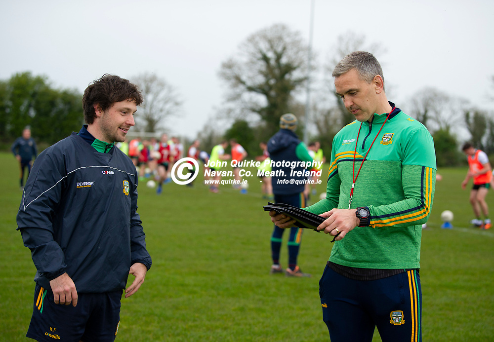 19-04-21. Meath Senior Football players training at Meath GAA Centre of Excellence, Dunganny.<br /> Meath team coaches Kelvin Finnegan (Left) and Niall Ronan<br /> Photo: John Quirke / www.quirke.ie<br /> ©John Quirke Photography, 16 Proudstown Road, Navan. Co. Meath. (info@quirke.ie / 046-9028461 / 087-2579454).