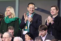 Republic of Ireland Taoiseach Leo Varadkar (centre) during the 2018 FIFA World Cup qualifying play-off second leg match at the Aviva Stadium, Dublin.