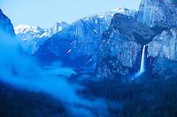 Scenic image of Bridalveil Falls and Yosemite Valley. Yosemite National Park.
