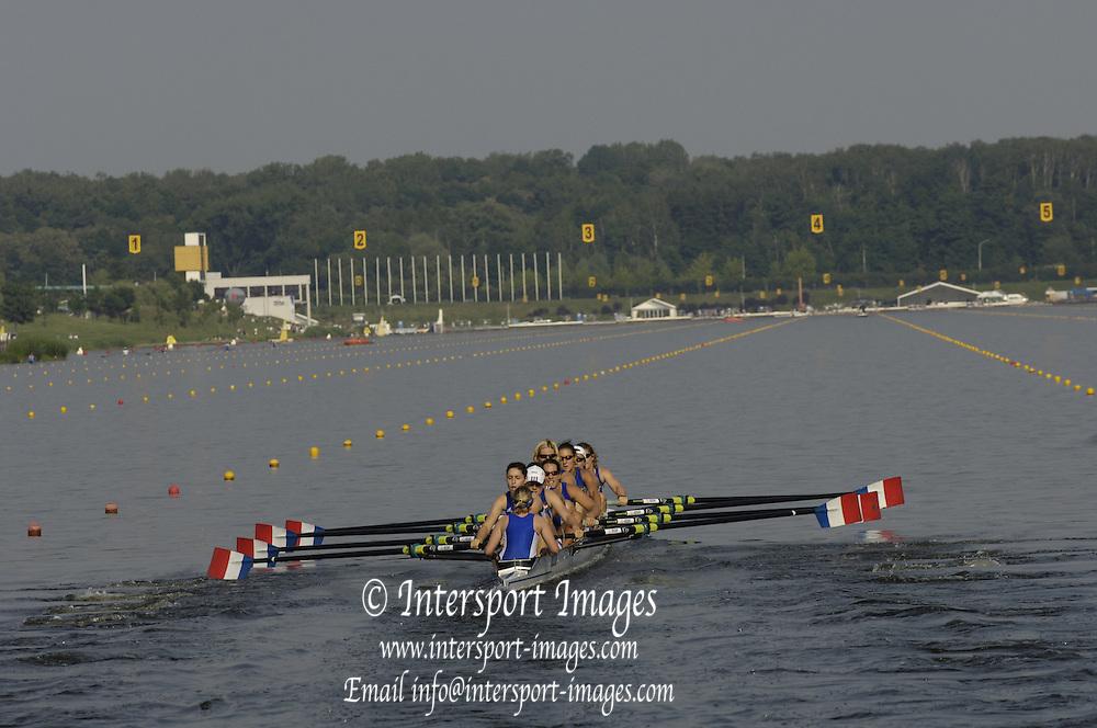 Poznan, POLAND.  2006, FISA, Rowing World Cup, FRA W8+, bow Coralie  DUFOUR,  Celia FOULON,  Joannie  LAFFEZ, Stephanie DECHAND,  Caroline DELAS, Audrey  GALY, Marie  LE NEPVOU, Elondie  RUBAUD, cox  Melanie  LELIEVRE.  move away from the start pontoon at the   'Malta Regatta course;  Poznan POLAND, Fri. 16.06.2006. © Peter Spurrier   ....[Mandatory Credit Peter Spurrier/ Intersport Images] Rowing Course:Malta Rowing Course, Poznan, POLAND