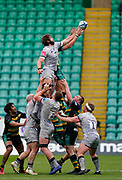 Sale Sharks lock Lood De Jager beats Northampton Saints flanker Tom Wood to win a line-out during a Gallagher Premiership Round 13 Rugby Union match, Saturday, Mar. 13, 2021, in Northampton, United Kingdom. (Steve Flynn/Image of Sport)