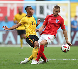 SAINT PETERSBURG, July 14, 2018  Eric Dier (R) of England vies with Youri Tielemans of Belgium during the 2018 FIFA World Cup third place play-off match between England and Belgium in Saint Petersburg, Russia, July 14, 2018. (Credit Image: © Fei Maohua/Xinhua via ZUMA Wire)
