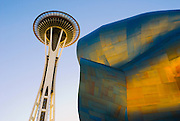 The Space Needle and metal sculpture at the Experience Music Project, Seattle, Washington USA