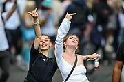 London, United Kingdom, June 27, 2021: Young participants gesture as they attend an anti-government musical rave in central London on Sunday, June 27, 2021. (VX Photo/ Vudi Xhymshiti)