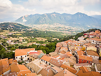 Aerial view of Nusco, a small town in Avellino Province,  Campania, Italy