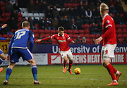 Charlton Athletic midfielder, Johann Berg Gudmundsson (7) with a shot on goal during the Sky Bet Championship match between Charlton Athletic and Cardiff City at The Valley, London, England on 13 February 2016. Photo by Matthew Redman.