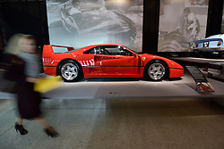 """© Licensed to London News Pictures. 14/11/2017. London, UK.  A Ferrari F40, 1987, built to celebrate the 40th anniversary of Ferrari.  Preview of """"Ferrari: Under the Skin"""", an exhibition at the Design Museum to mark the 70th anniversary of Ferrari.  Over GBP140m worth of Ferraris are on display from private collections including Michael Schumacher's 2000 F1 winning car.  The exhibition runs 15 November to 15 April 2018.  Photo credit: Stephen Chung/LNP"""
