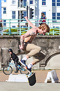 April 6, 2020, London, England, United Kingdom: People Skating nearby the beach in Brighton, Britain on Monday, April 6, 2020 - as British Prime Minister Boris Johnson was moved to intensive care after his coronavirus symptoms worsened in London. Johnson was admitted to St Thomas' hospital in central London on Sunday after his coronavirus symptoms persisted for 10 days. Having been in hospital for tests and observation, his doctors advised that he be admitted to intensive care on Monday evening. The new coronavirus causes mild or moderate symptoms for most people, but for some, especially older adults and people with existing health problems, it can cause more severe illness or death. (Credit Image: © Vedat Xhymshiti/ZUMA Wire)