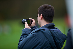 CARDIFF, WALES - Monday, November 19, 2018: A photographer during a training session at the Vale Resort ahead of the International Friendly match between Albania and Wales. (Pic by David Rawcliffe/Propaganda)