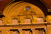 Facade of the Swiss National Bank building on Bundesplatz, Bern, Canton Bern, Switzerland