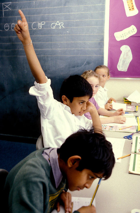 Child raising his hand to answer a question in primary school classroom,