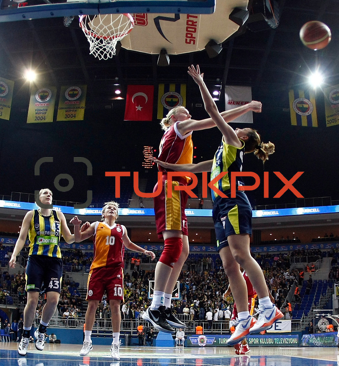 Fenerbahce's and Galatasaray's players during their Turkish Basketball woman league derby match Fenerbahce between Galatasaray at Ulker Sports Arena in Istanbul, Turkey, wednesday, December 26, 2012. Photo by Aykut AKICI/TURKPIX