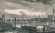 'Waterloo Bridge across the Thames, London. Built by John Rennie (1761-1821) Scottish civil engineer, 1811 to 1817. Coffer dams were used instead of caissons in construction of the piers. Engraving, c1840.'