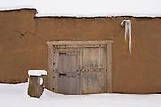 Martinez Hacienda doors in winter snow
