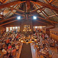 Tourists eat in the historic dining room at   Old Faithful Inn, Yellowstone National Park, Wyoming.