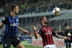 October 21, 2018 - Milan, Milan, Italy - Davide Calabria #2 of AC Milan competes for the ball with Ivan Perisic #44 of FC Internazionale Milano during the serie A match between FC Internazionale and AC Milan at Stadio Giuseppe Meazza on October 21, 2018 in Milan, Italy. (Credit Image: © Giuseppe Cottini/NurPhoto via ZUMA Press)