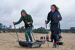 Anouk and Vera in training for the Camino 2020 at the Soesterduinen on March 08, 2020 in Soest, Netherlands