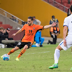 BRISBANE, AUSTRALIA - APRIL 12: Jack Hingert of the Roar kicks the ball during the Asian Champions League Group Stage match between the Brisbane Roar and Kashima Antlers at Suncorp Stadium on April 12, 2017 in Brisbane, Australia. (Photo by Patrick Kearney/Brisbane Roar)