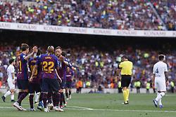August 15, 2018 - Barcelona, Catalonia, Spain - August 15, 2018 - Camp Nou, Barcelona, Spain - Trofeu Joan Gamper FC Barcelona v Boca Juniors; Leo Messi of FC Barcelona celebrates the 2-0. (Credit Image: © Marc Dominguez via ZUMA Wire)
