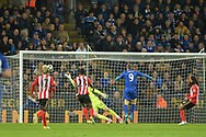 Jamie Vardy of Leicester city scores Leicester City's second goal .Premier league match, Leicester City v Sunderland at the King Power Stadium in Leicester, Leicestershire on Tuesday 4th April 2017.<br /> pic by Bradley Collyer, Andrew Orchard sports photography.
