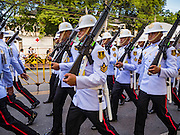 20 OCTOBER 2016 - BANGKOK, THAILAND: A Thai Army honor guard marches into the Grand Palace from Sanam Luang to participate in mourning rites for the late BaBhumibol Adulyadej, the King of Thailand. The King died Oct. 13, 2016. He was 88. His death came after a period of failing health. Bhumibol Adulyadej was born in Cambridge, MA, on 5 December 1927. He was the ninth monarch of Thailand from the Chakri Dynasty and is also known as Rama IX. He became King on June 9, 1946 and served as King of Thailand for 70 years, 126 days. He was, at the time of his death, the world's longest-serving head of state and the longest-reigning monarch in Thai history.       PHOTO BY JACK KURTZ