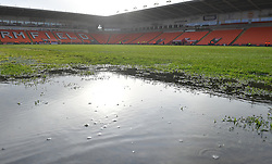A general view of Bloomfield Road home of Blackpool after the game was called off due to a waterlogged pitch