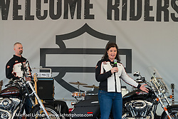 Harley-Davidson's Jen Gersch describes the attributes of the just introduced HD 1200T Sportster at the Harley-Davidson Display during Daytona Bike Week. , FL., USA. March 8, 2014.  Photography ©2014 Michael Lichter.