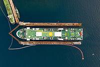 Aerial view of ferry being renovated near Mali Lošinj, Croatia.