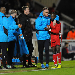 TELFORD COPYRIGHT MIKE SHERIDAN 12/1/2019 - Dan Udoh of AFC Telford gets a huge from manager Gavin Cowan after being substituted during the Vanarama Conference North fixture between AFC Telford United and Hartlepool United at the Super Six Stadium.