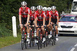 July 4, 2018 - Mouilleron Le Captif, France - MOUILLERON-LE-CAPTIF, FRANCE - JULY 4 : GREIPEL Andre  (GER)  of Lotto Soudal, SIEBERG Marcel  (GER)  of Lotto Soudal, BENOOT Tiesj  (BEL)  of Lotto Soudal, KEUKELEIRE Jens  (BEL)  of Lotto Soudal, DE BUYST Jasper  (BEL)  of Lotto Soudal, DE GENDT Thomas  (BEL)  of Lotto Soudal and VANENDERT Jelle  (BEL)  of Lotto Soudal during a team reconnaissance of stage 1 prior the 105th edition of the 2018 Tour de France cycling race, a stage of 201 kms between Noirmoutier-en-l'Ile and Mouilleron-Le-Captif on July 04, 2018 in Mouilleron-Le-Captif, France, 4/07/18 (Credit Image: © Panoramic via ZUMA Press)